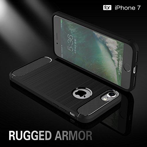 iPhone Case Cover Pour iPhone 7 Fibre de texture brossée TPU Rugged Armor Case de protection ( Color : Black ) Grey