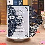 BESNIN Faire-part Laser, 50 pcs Faire-part de Mariage avec enveloppes Faire-part Mariage Laser Kits, Invitations de mariage creuses avec du papier imprimable vierge
