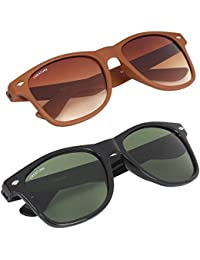 CREATURE Glossy & Matte Finish Unisex Sunglasses(Lens-Green/Brown||Frame-Black/Brown||SUN-003-015)