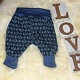 Baby Pumphose Schlupfhose Sweathose Babyhose newborn Gr. 56-68 Anker Anchor Maritim blau Unisex
