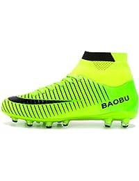 BIGU Chaussures de Football Homme Adolescents AG Spike Crampons Antidérapant Chaussure de Foot High Top Adulte Profession Athlétisme Entrainement