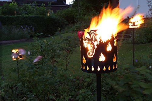 Gartenfackel auf Stecker 'Drache', aus Metall, Höhe: 128 cm , Ø 15cm, INKL. 2 Holzbrennelementen Garten Sommer Fackel Windlicht