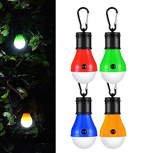 LED da Campeggio,Hovast Impermeabile Esterno LED Emergenza Lampada Portatile Alimentata a Batterie Lanterna da Campeggio [4 Pezzi] per l'escursionismo, la Pesca, la Caccia,le Attività di Alpinismo