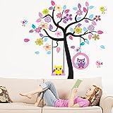 Woneart Enorm Swing Eule Baum Wandtattoo Wandaufkleber Tier Blumen Wandkunst Wandbilder Vinyl Kinderzimmer Aufkleber Dekorationen