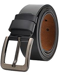 VRLEGEND Cintura uomo pelle cinta pelle fibbia casuale classico dell'annata della pelle bovina Cintura di vita Regolabile fino a 175 cm