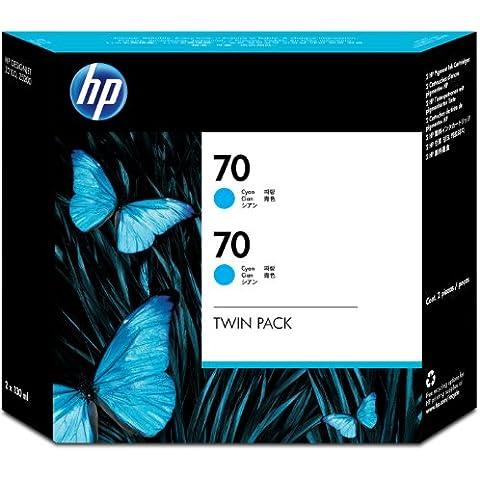 HP CB343A - Cartucho de tinta, 130 ml (pack de 2) Cian