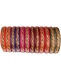 Fashionable & Glossy Black & Golden Printed Flower Pattern Multicolor Glass Bangle/Kadaa For Women & Girls On...