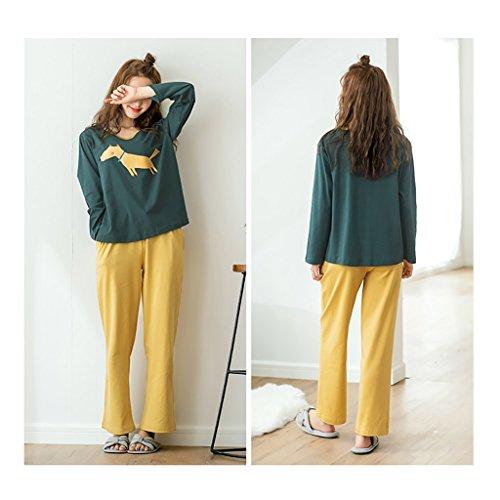 Comfort season Manteaux à manches longues en coton Pyjama Casual Cute Home Clothes Set Vert