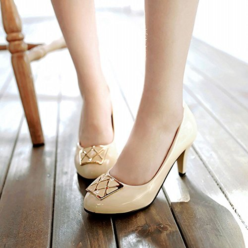 Mee Shoes Damen süß high heels runde Pumps Aprikose