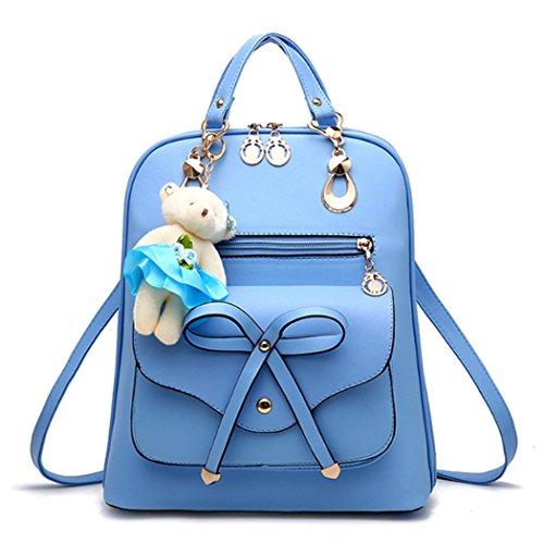 Borsa di zaino da viaggio di zaino della borsa del sacchetto di spalla della scuola del cuoio sintetico della donna della ragazza di modo con lorso adorabile ed il legame dellarco Azzurro