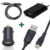 Slabo Set 3 en 1 pour Amazon Tablette Fire / Tablette Fire 7 Câble de Données Micro USB / Mini Chargeur pour voiture / Chargeur USB Slim - NOIR
