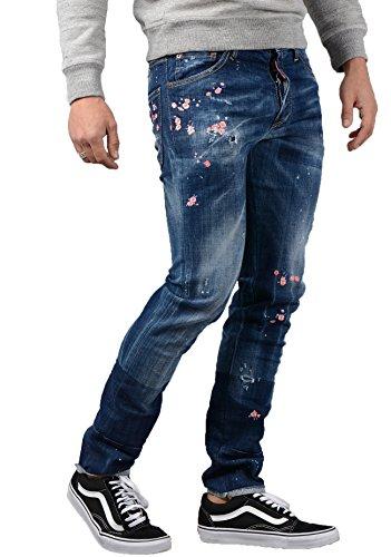 DSQUARED2 Herren Jeans, S71LB0322 - Blau (Floral Five-pocket-jeans)