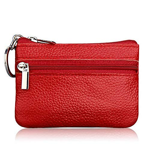 Bobopai Ladies Leather Wallet Pouch Purse for Small Coin Card Key Ring (Red)