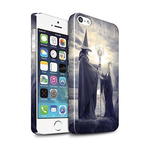 Officiel Elena Dudina Coque / Clipser Brillant Etui pour Apple iPhone SE / Somnambule/Insomnie Design / Magie Noire Collection Maestro/Sorcier