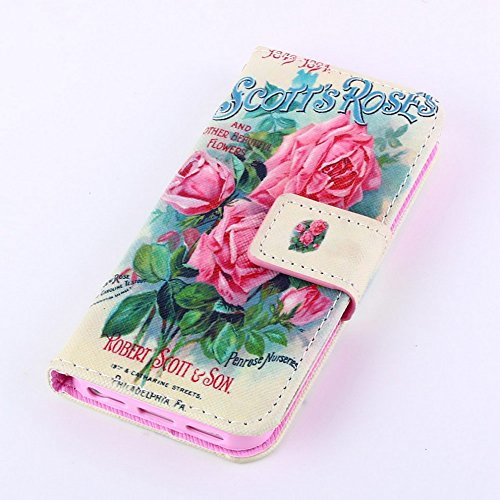 Più colorate Ancerson in pelle PU Flip Custodia per cellulare per Apple iPhone 5/5S/5G in pittura ad olio Stil Colorful Painting Custodia Flip Case Custodia in similpelle custodia per cellulare con fu rosa Blume