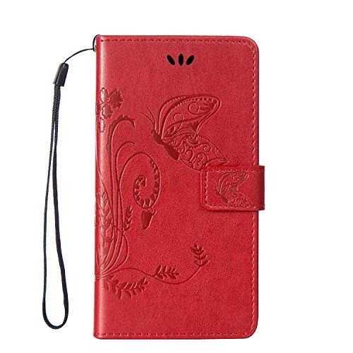 Forepin® Flip Wallet Ledertasche Hülle für Sony Xperia M5 5.0 Zoll Weich PU Leder Schutzhülle im Schmetterlingsmuster mit Standfunktion Karteneinschub und Magnetverschluß (Kostenlose Lanyard) - Rot