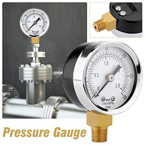 Hifuture Manometer, Dual Scale Messgerät, 0 ~ 30psi oder 0 ~ 2bar Messbereich, stabiles Gasdruckmessgerät für Wasser, Öl, Luft und mehr, 40 mm Durchmesser Everywhere