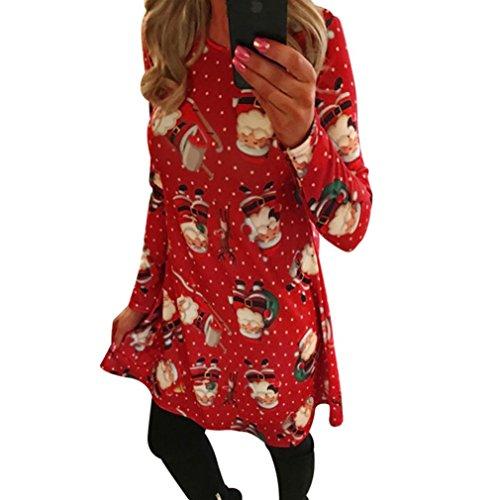 Damen Kleid FORH Frauen Weihnachten Santa Drucken Elegant kleider Langarm Cocktailkleid Abendkleid Casual Tunika Mini Swing Kleid Festlich Partykleid A-linie Kleid (Rot, S)