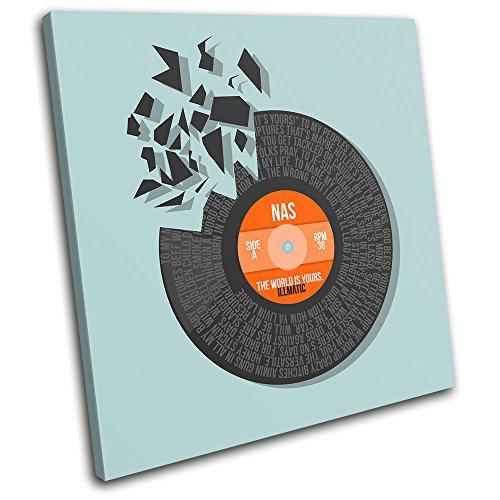 Bold Bloc Design - NAS The World Vinyl Record Song Lyrics Musical 75x75cm SINGLE Leinwand Kunstdruck Box gerahmte Bild Wand hangen - handgefertigt In Grossbritannien - gerahmt und bereit zum Aufhangen - Canvas Art Print