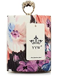 Women Box-Like Floral Print Evening Bag Clutch Bags With Diamond Designers Handbags (Colorful One) By Yyw