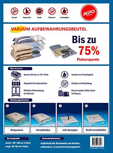 Set de bolsas de compresi/ón al vac/ío por aspiradora 2 tama/ños diferentes 3 St/ück 40*60 cm edredones y ropa de cama 10//3 unidades robustas para guardar ropa