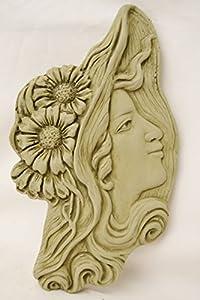 Frances Art Nouveau Wall Plaque-Garden Ornament-Woman Figure-Sculpture-Stone by DSL