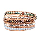 New! Genuine Leather Bracelet Multi Colors Beads Wrap Review and Comparison