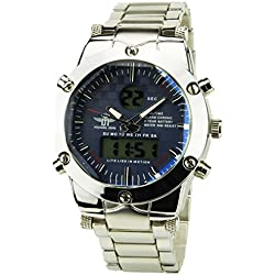 MICHAEL JOHN -Men's Watch Silver Quartz Blue case Steel Analogue Display-Digital Band Steel Date