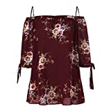 Large Size Spaghetti Strap Tops Kanpola Hot Sale Fashion Casual Womens Plus Size Floral Printed Cold Shoulder Cami Blouse