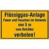 Flüssiggas-Anlage Feuer und Rauchen im Umkreis Hinweisschild, Alu, 30x20 cm