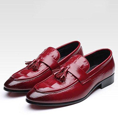HUAN Hommes Chaussures PU Confort Printemps Mocassins Casual Mode Chaussures de Marche Noir Rouge Mariage Bureau & Carrière Rouge