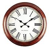 @Reloj de Pared Reloj de pared Sin tictac Funciona con batería Vintage Número romano Dormitorio Sala de estar Decoración Europeo Retro Madera Silencio Cuarzo Relojes redondos grandes Reloj de pared an