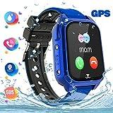 GPS Tracker Kids Smartwatch Phone per Bambini Impermeabile, Localizzato pedometro con Chat Vocale, Sveglia SOS per il Gioco di Matematica Kids Smart Watch, Regalo Ragazzo e Ragazza, S8-Blue