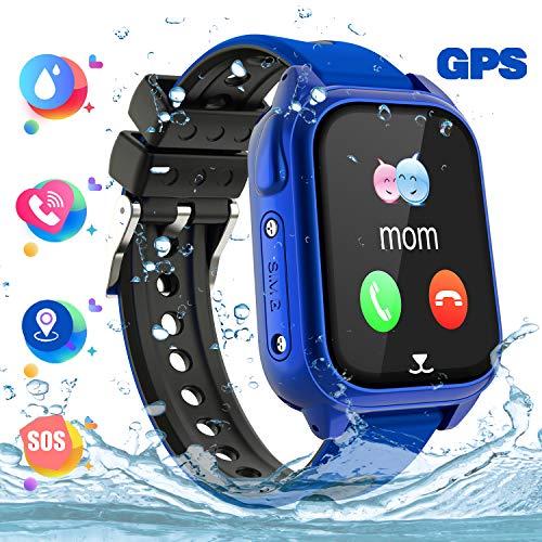 Reloj Inteligente Teléfono para niños Impermeable, GPS+LBS Rastreador Podómetro cámara SOS Pantalla...