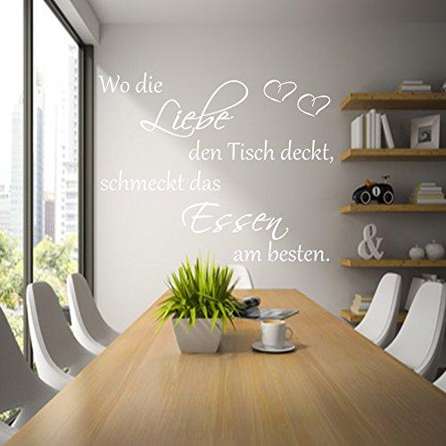 Küche Wandtattoo Wo die Liebe den Tisch deckt,schmeckt das Essen am besten.(Weiss, 90cm x 45cm)