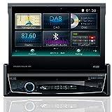 Tristan Auron BT1D7018 Autoradio 7,0'' Touchscreen Bildschirm ausfahrbar, Navi, DAB, Bluetooth Freisprecheinrichtung, Web-Link, USB CD/DVD 1 DIN, Waze