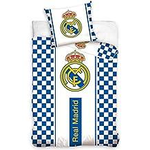 Real Madrid CF blanco cuadros único juego de funda de edredón de algodón