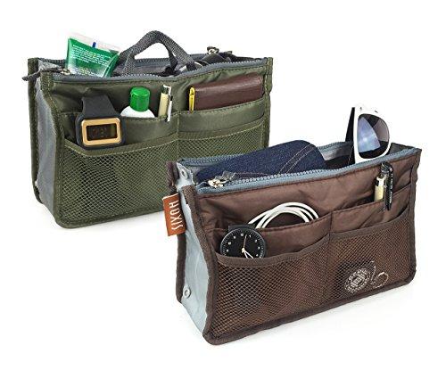 Hoxis Nylon Purse Organizzata 13 tasche Comestic Gadget-Organizzatore espandibile, con manici 26,92 cm X (10,6 16,00 (6,3 Bag in Bag cm, (Pack of 2(Green&Brown))