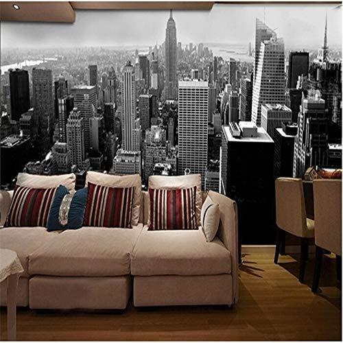 Sucsaistat Papier Der Wand 3D Einfaches Schwarzweiss-Architekturart-Stadtgebäude In Manhattan, New York-Wandbildtapete,300 * 210Cm