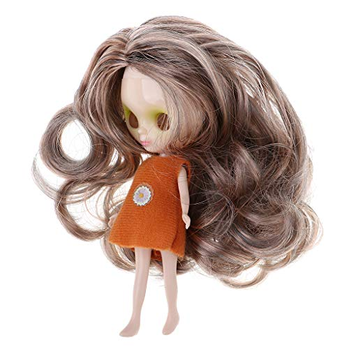 Baoblaze 11cm Puppen Nackte Körper+ Kopf + Perücke + Kleidung Für Mini Blythe Puppe DIY Herstellung (Blythe-puppe, Kopf)