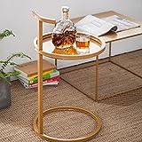 LOF Couchtisch Beistelltisch Lagerregal Schmiedeeisen Wohnzimmer Runde Sofa Rand Metall Racks ( Farbe : Gold )