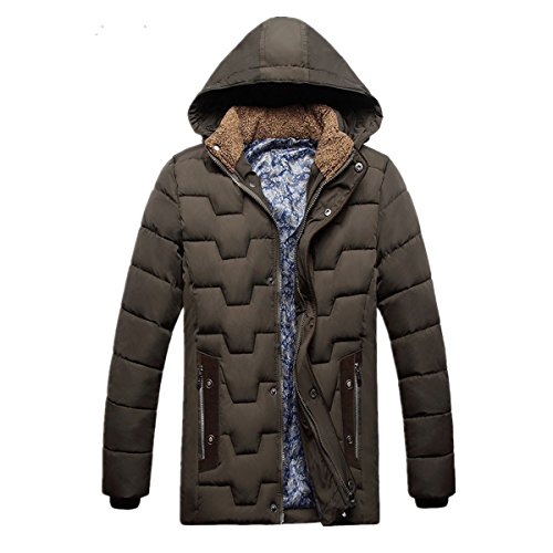 CRAVOG Winterjacke Herren Daunenjacke mit Fleece Futter Wärmejacke Baumwollmischung Kurze Mantel Winter Warme Hoodie Sweatjacke Armee-Grün