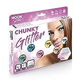 Schillernder grober Glitzer von Moon Glitter - 100% kosmetische Glitzer für Gesicht, Körper, Nägel, Haare und Lippen - 3g - Box-Set