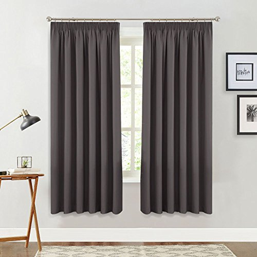 PONYDANCE Blackout Pencil Pleat Window Curtains Ready Made Plain Thermal  Insulated Room Dark Curtain Panels Energy Saving Drape Blinds For Bedroom,  ...