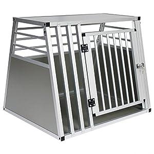 EUGAD 1 Aluminium Cage de Transport avec 1 Porte Cage de Chien en Aluminium 80x66x65cm,Argent 0061HT