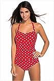 GK@ Bikini Set/Bademode/Badeanzug/Swimwear Bikini/ Badebekleidung/Strandkleidung mit Einteiliger Badeanzug Bikini ist auch niedrige Brust Sau eine große Zahl von roten und weißen Punkt, M