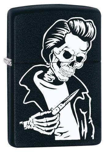 Zippo Feuerzeug 60002620 PL Rockabilly Skull Benzinfeuerzeug, Messing, Black Matte 1 x 3,5 x 5,5 cm