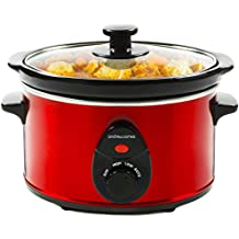 Andrew James Premium Slow Cooker Crockpot with Tempered Glass Lid & Removable Ceramic Bowl, Ideal for Making up to 6 Portions of Slow Cooker Easy & Healthy Recipes, 3 Heat Settings, 1.5 Litre, Red- 120W