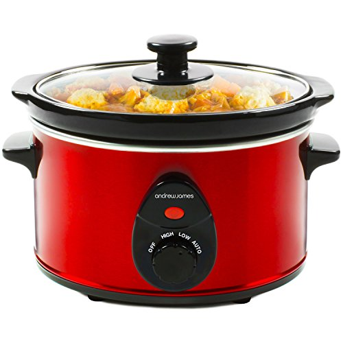 Andrew James Slow Cooker 1.5L | Tempered Glass Lid & Removable Ceramic Pot | Makes up to 6 Portions | 3 Temperature Settings | 120W | Red