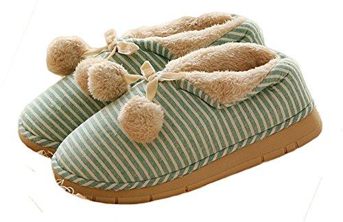 Auspicious beginning Pantofole da casa a righe in cotone caldo con cinturini in misto cotone e unisex Verde